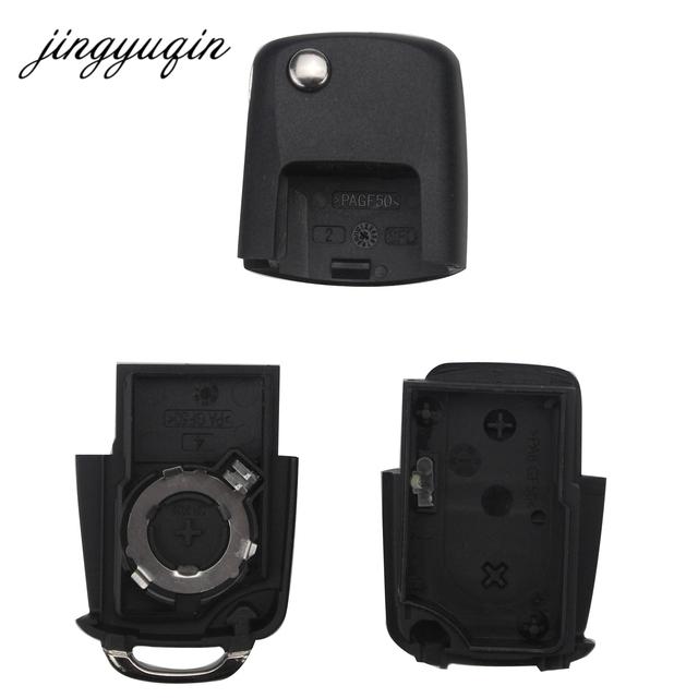 jingyuqin No Blade 2/3 Button Remote Flip Folding Car Key Shell for VW MK4 Bora Golf 4 5 6 Passat Polo Bora Touran