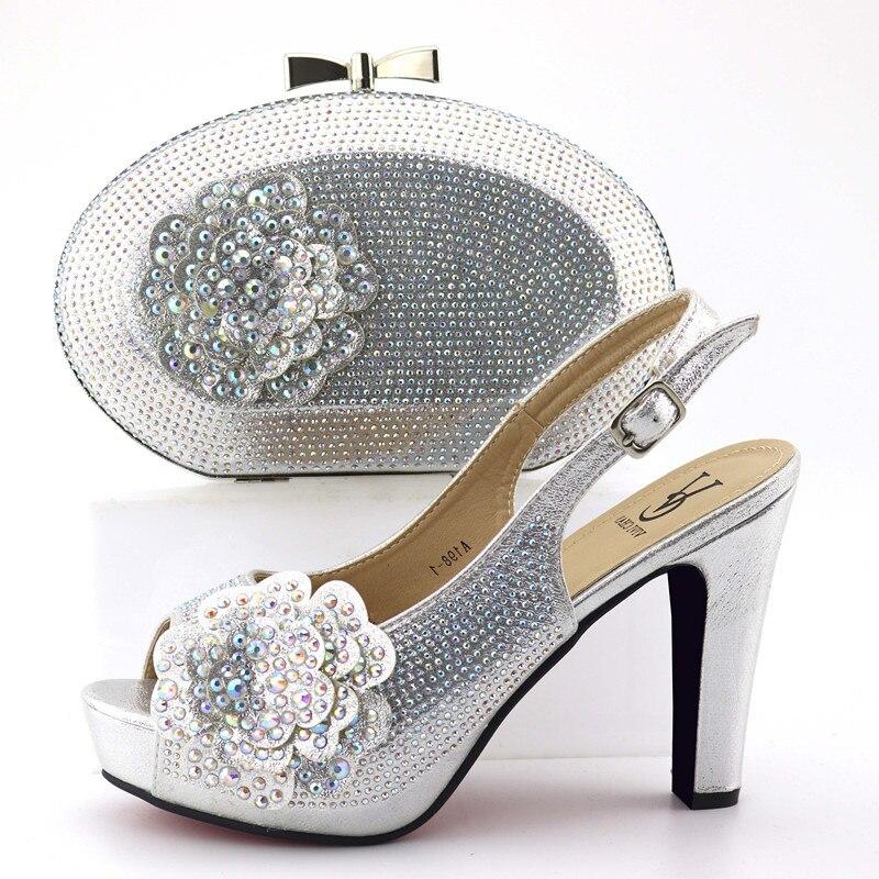 Taille 38 à 42 chaussures italiennes en argent et sac ensemble assorti pour robe africaine en dentelle chaussures de fête et sac ensemble assorti argent SB8323-6