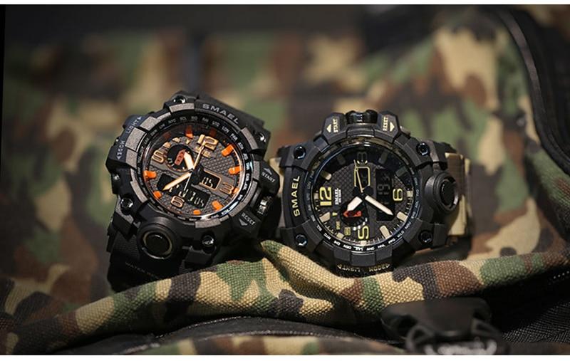 SMAEL 2019 Men's Sport Wrist Watch Military Waterproof Man Dual Display Analog Digital Watch electronic Clock erkek kol saati (10)