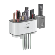 Wall Mount Dust-proof Toothbrush Holder With Cups Automatic Toothpaste Squeezer Dispenser Bathroom Accessories Sets wall mount dust proof toothbrush holder dispenser hair drier rack automatic toothpaste squeezer dispenser bathroom accessories