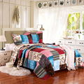 High Quality Hand Made Patch Work American Style 100% Cotton Quilted 3 Pieces Floral Bedspread&Bed Coverlet