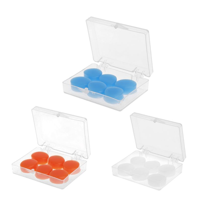 6PCS/SET Earplugs Protective Ear Plugs Silicone Soft Waterproof Anti-noise Earbud Protector Swimming Showering Water Sports