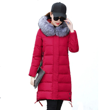 Warm Long Women Jackets Winter Slim Hooded Solid Parkas Faux Fur Collar Female Cotton Coats Elegant Lady Fashion Outwears YP0442