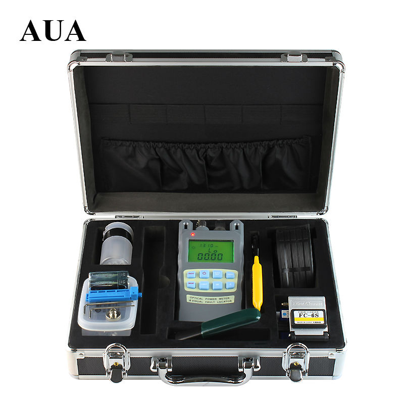 9pcs/set Fiber Optic FTTH Tool Kit with Fiber Cleaver and All-IN-ONE Fiber optical power meter 5km Visual Fault Locator9pcs/set Fiber Optic FTTH Tool Kit with Fiber Cleaver and All-IN-ONE Fiber optical power meter 5km Visual Fault Locator
