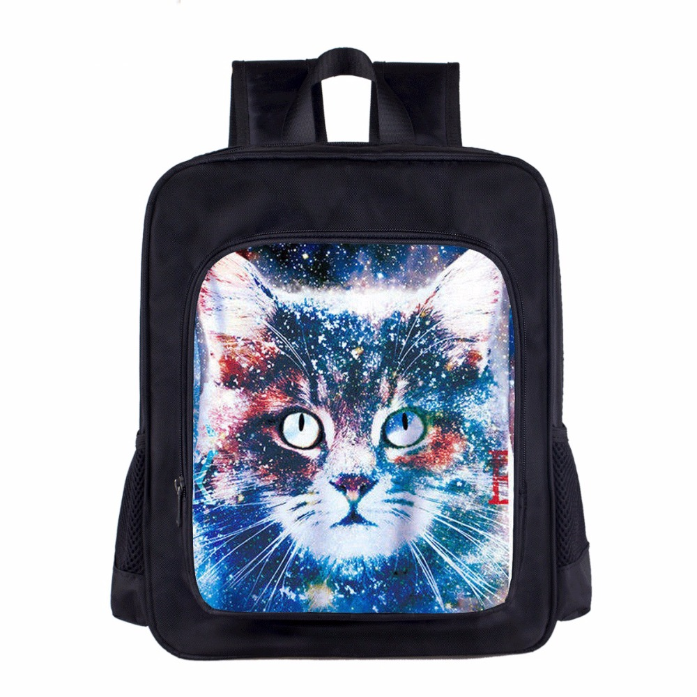 Anime Character Lovely Space Cat 3D Printing Backpacks for Teenager School Girls Boys Toddlers Kindergarten 14 inch Kids Bag