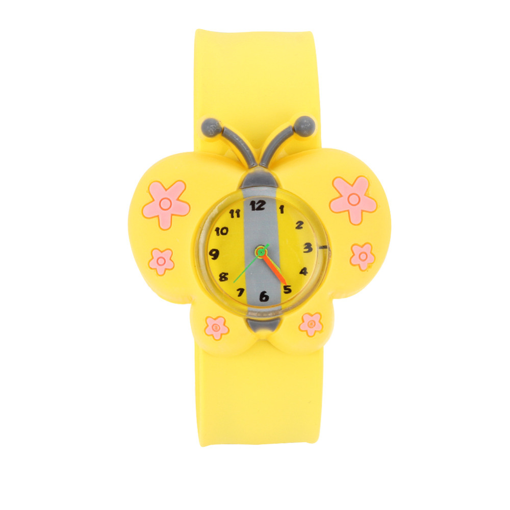 Child Toys Digital Slap Watch Cute Butterfly Slap Watches For Kids Yellow Flap Ring Watch  LL