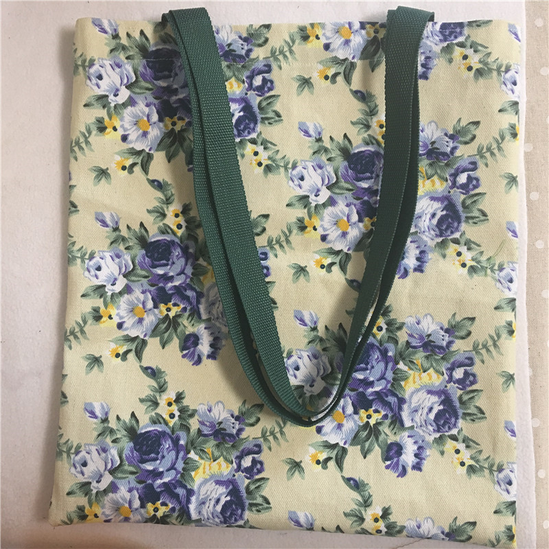 Cotton Canvas Eco Shopping Tote Shoulder Bag Print Blue Rose Flower Green Strap Open No Lining 8120A