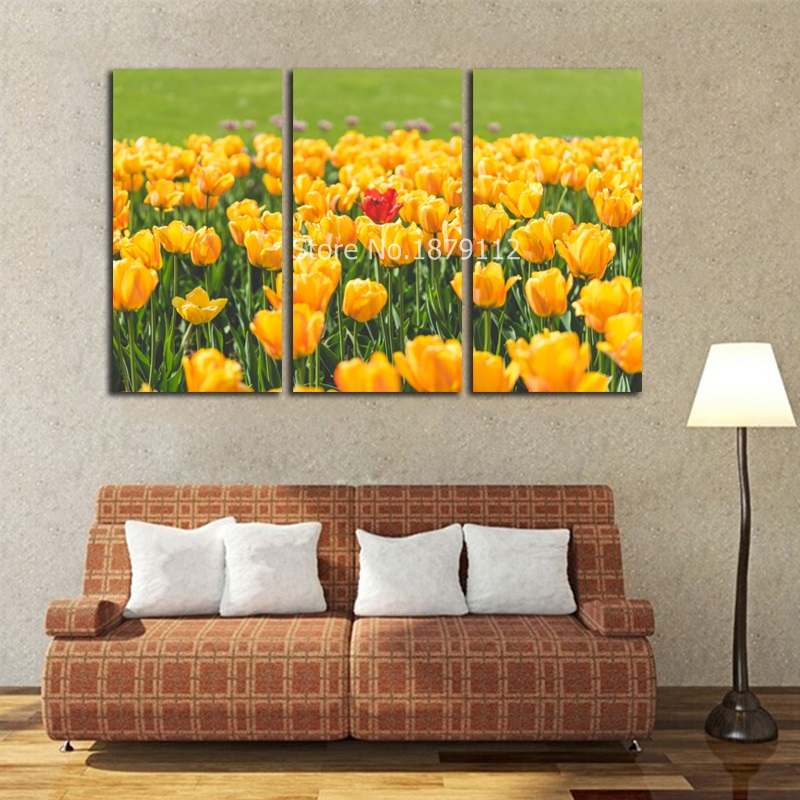 Home Decor Canvas Print 3 Panels Yellow Tulip Field Decoration Pictures Canvas Painting Wall Art Modern Wall Decor Poster Art