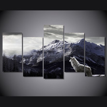 Canvas Wall Art 5 Pieces Snow Mountain Plateau Wolf Paintings Animal Posters HD Prints Picture Ready to Hang Drop Shipping(China)