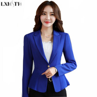 LXMSTH 2019 Spring New Korean Formal Suit Coat jacket White Collar Slim Ruffles Work Blazer For Women Office Blazers Female 4XL