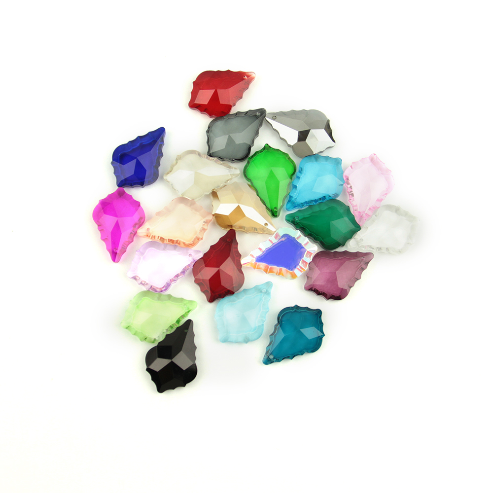 38/50mm 10pcs/60pcs/100pcs Colorful Crystal Maple Leaf Glass Lighitng Chandelier Prism Parts Pendant For Home Decor
