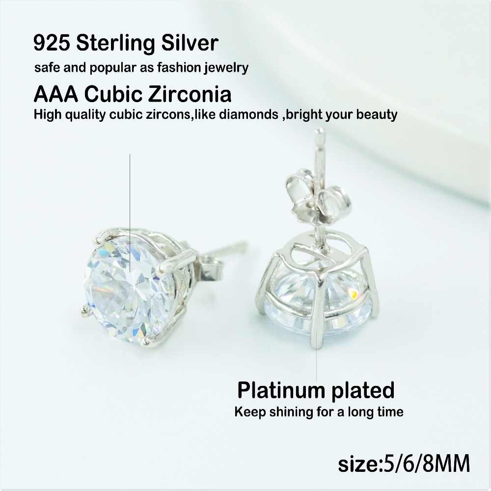 10db6468a ... 925 Sterling Silver Big Crystal Round Stud Earrings For Women Wedding  Gift with AAA CZ Stone ...