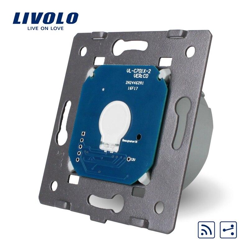 Livolo estándar EU, 1 Gang 2 Way, Panel de vidrio táctil sin interruptor remoto, AC VL-C701SR 250 V + indicador LED, 220