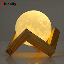 Convenient Rechargeable 3D Print Moon Lamp 2 Color Change Touch Switch Bedroom Bookcase Night Light Home Decor Creative Gift lumiparty rechargeable 3d print moon lamp 3 color change touch switch bedroom bookcase night light home decor creative gift