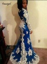 Arabic Long sleeve Mermaid Evening Dresses Royal Blue Lace Appliques Prom Dress