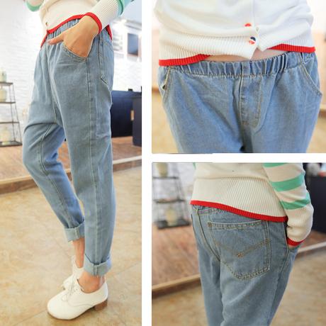 Nueva Llegada de La Manera Boyfriend Jeans Para Mujeres Ocasionales de La Cintura Elástico Retro Lavado Jeans Denim Pantalones Harem Más El Tamaño S-XXXL