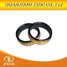 남자 또는 여자를위한 125 khz/13.56 mhz rfid 황금 도자기 똑똑한 손가락 반지 착용