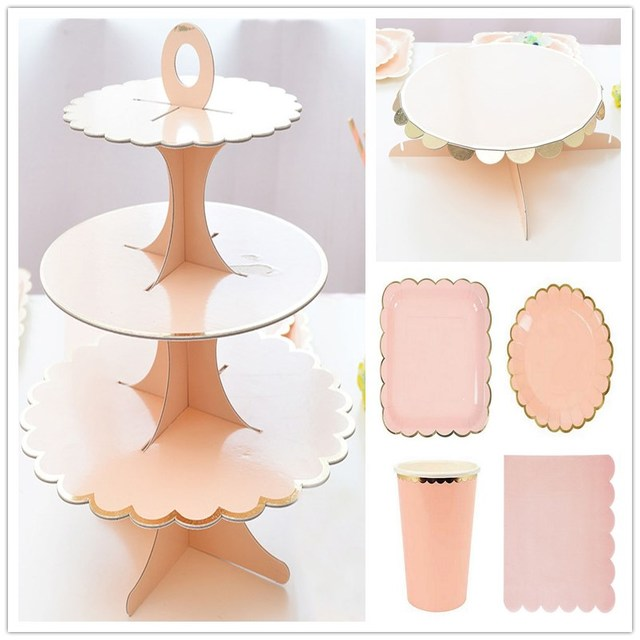 Foil Gold Pink DIY Wedding Decoration Cake Display 3 Layers Cake Stand Birthday Party Paper Cake  sc 1 st  AliExpress.com & Foil Gold Pink DIY Wedding Decoration Cake Display 3 Layers Cake ...