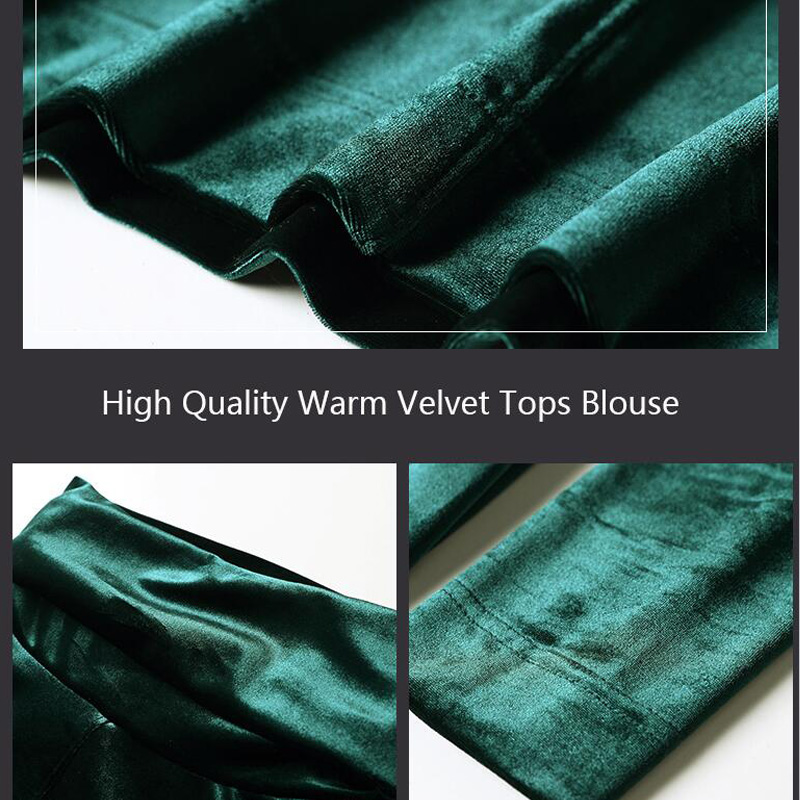 bb9d3048df39b Velvet Tops Women Shirts Solid Color 2019 Spring Fashion Long Sleeve  Turtleneck Velour Blouse Plus Size Women Basic Shirt-in Blouses   Shirts  from Women s ...
