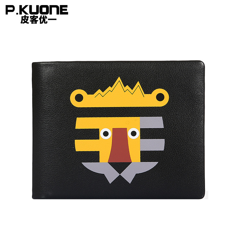 P.KUONE Genuine Leather Men Wallet Clutch Purse Passport Cover Travel Brand Credit Card Holder Clamp For Money Propitious 3d skull floral pu leather passport cover wallet travel function credit card package id holder storage money organizer clutch
