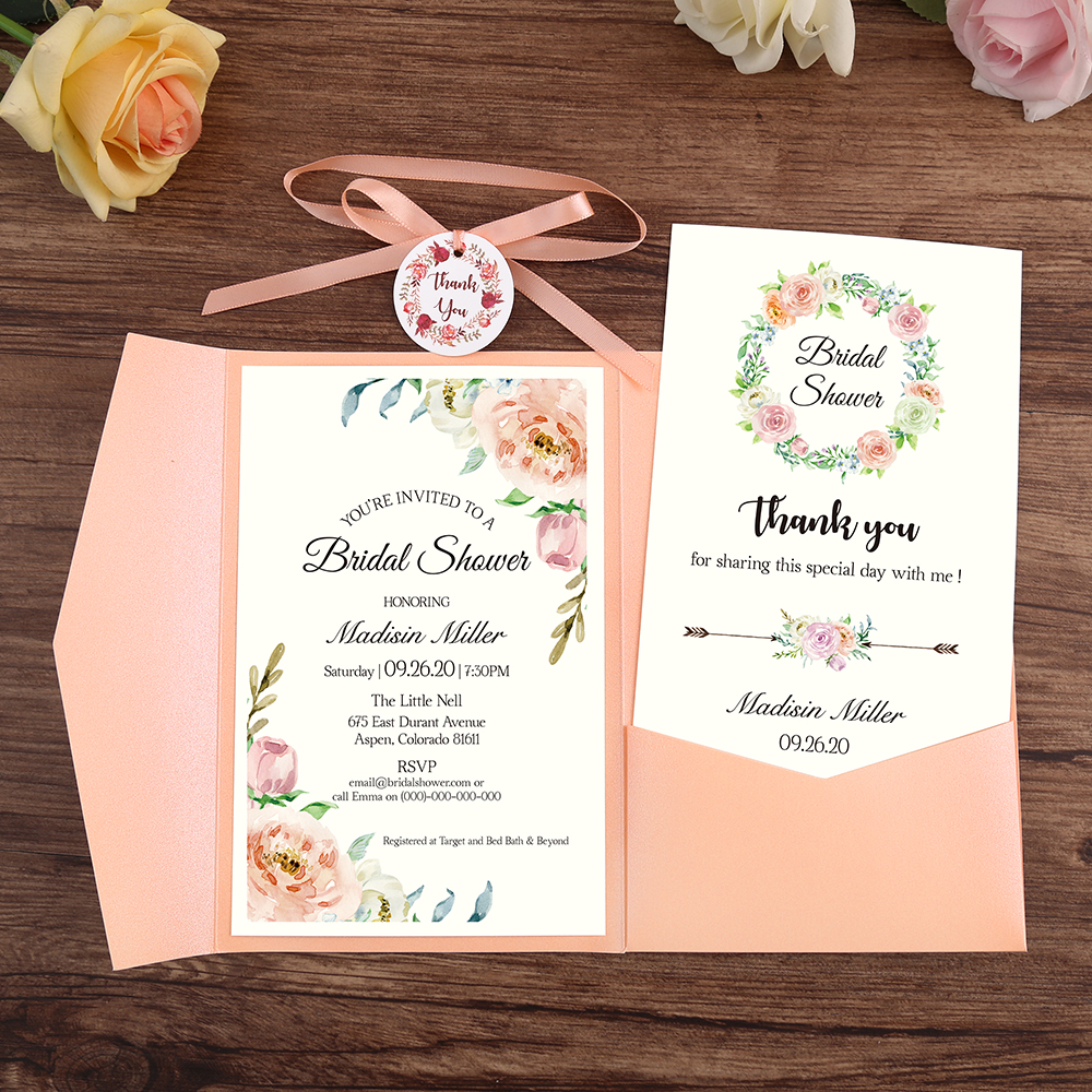 50pcs Invitations Pink ,Burgundy,Blue Pocket Greeting Cards with Envelope Customized Party with Ribbon and Tag-in Cards & Invitations from Home & Garden    1