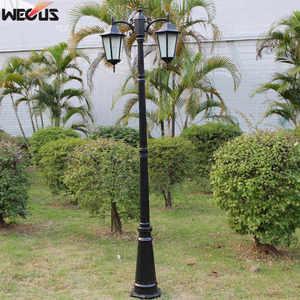 Image 3 - (H≈ 2.5M) אירופאי מעובה מנורת מוט שני למות יצוק אלומיניום אורות גן כביש תאורת תאורה