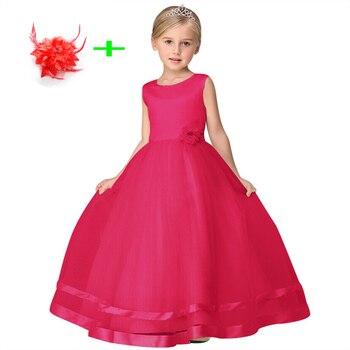 ebe4829691a12 Vêtements pour enfants filles 4 t à 10 ans fête d anniversaire porter des  robes formelles pour petites filles robe de mariée avec épingle à cheveux  fleur