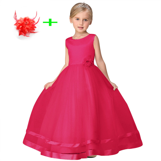 23c6bc5d852c children clothes girls 4t to 10 years birthday party wear kids formal  dresses for little girl wedding dress with flower hairpin
