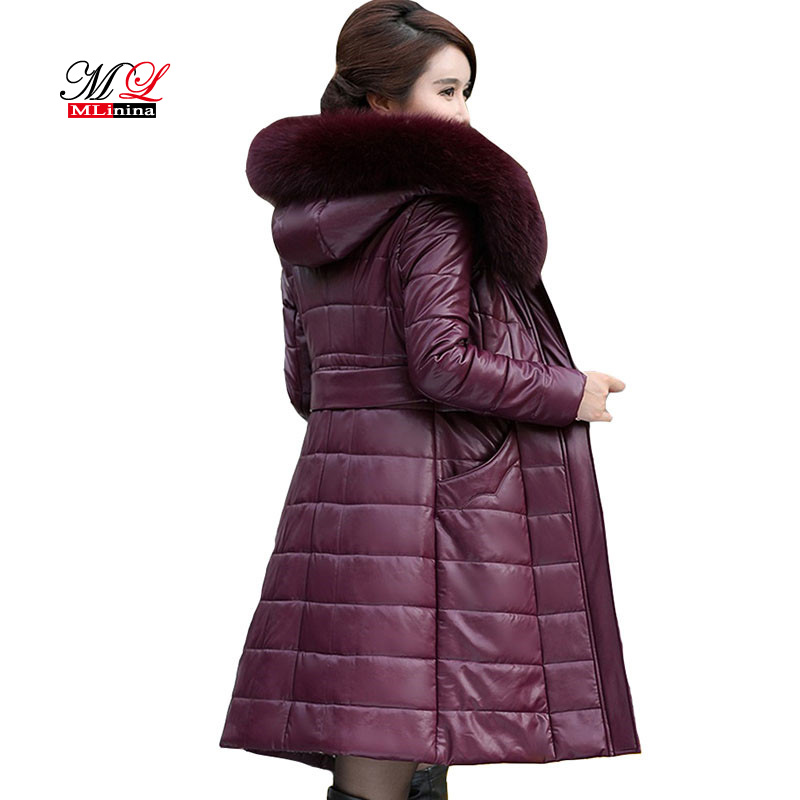 MLinina Winter Women Coats Long Leather Jacket Coat Female Fashion Big Fur Collar Thick Slim Plus Size Sheepskin   Parkas   Outwear