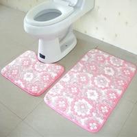1 Set Leaves Flowers Embroidered Carpet Absorbent Velvet Bath Floor Toilet Rugs Bath Mats Plain Rug