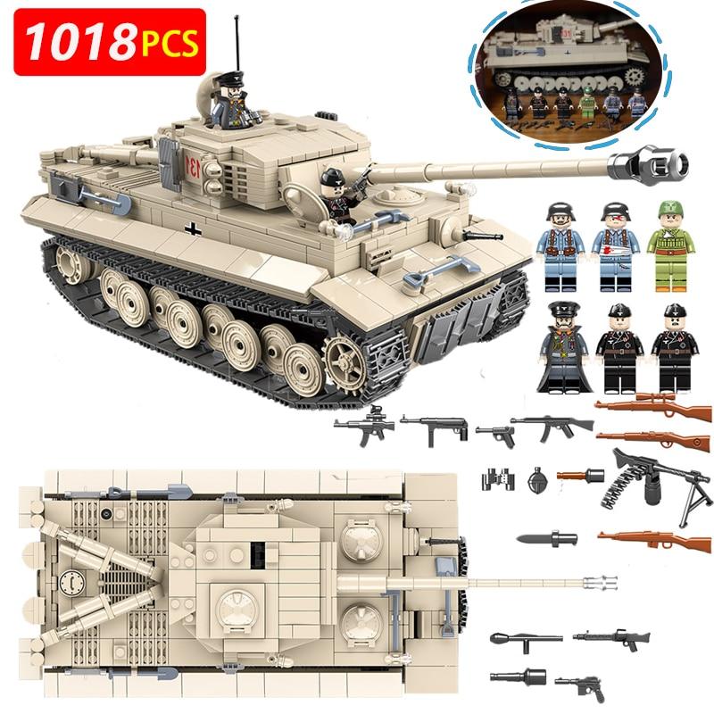 1018pcs Military German King Tiger 131 Tank Soldier Weapon Building Blocks Brick
