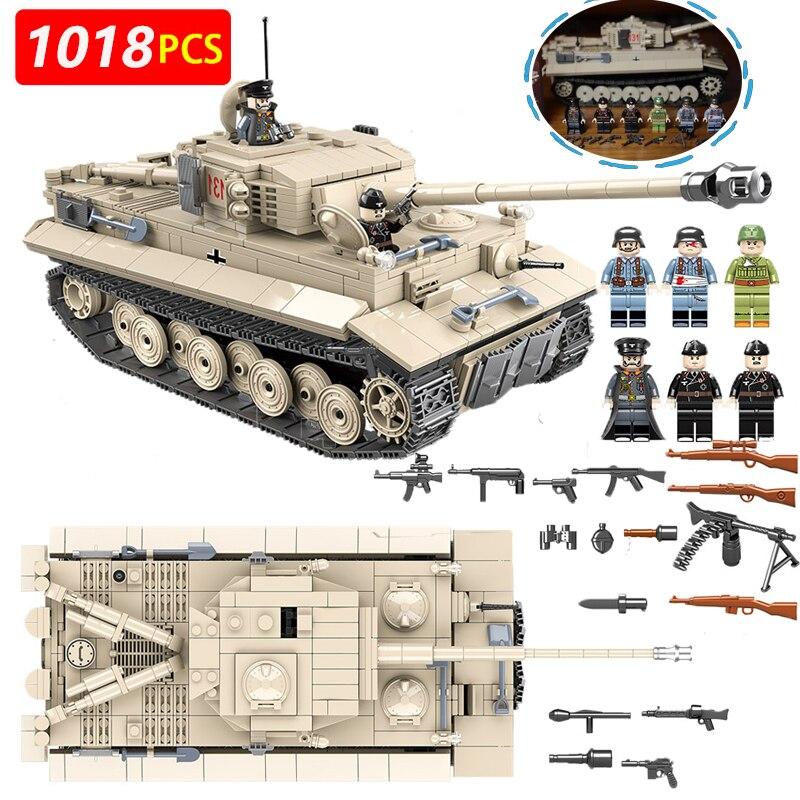 1018 pièces Briques Militaires Allemand King Tiger 131 Réservoir Blocs De Construction Legoingly Ww2 Soldat Kits D'armes L'éducation Garçon Jouets
