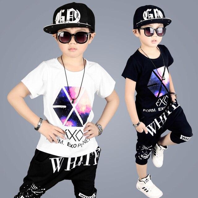 575c8d393 2018 Summer Boys Letter Dancing Clothes 2 Pcs Children's Wear Hip Hop  Clothing Set Wholesale Kids Short Sleeved Cotton Tracksuit