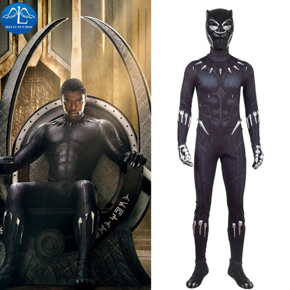 2018 New Black Printing Black Panther Costume Men Halloween Cosplay Costume For Men Black Panther Cosplay Costume Custom Made halloween cosplay skeleton style costume black