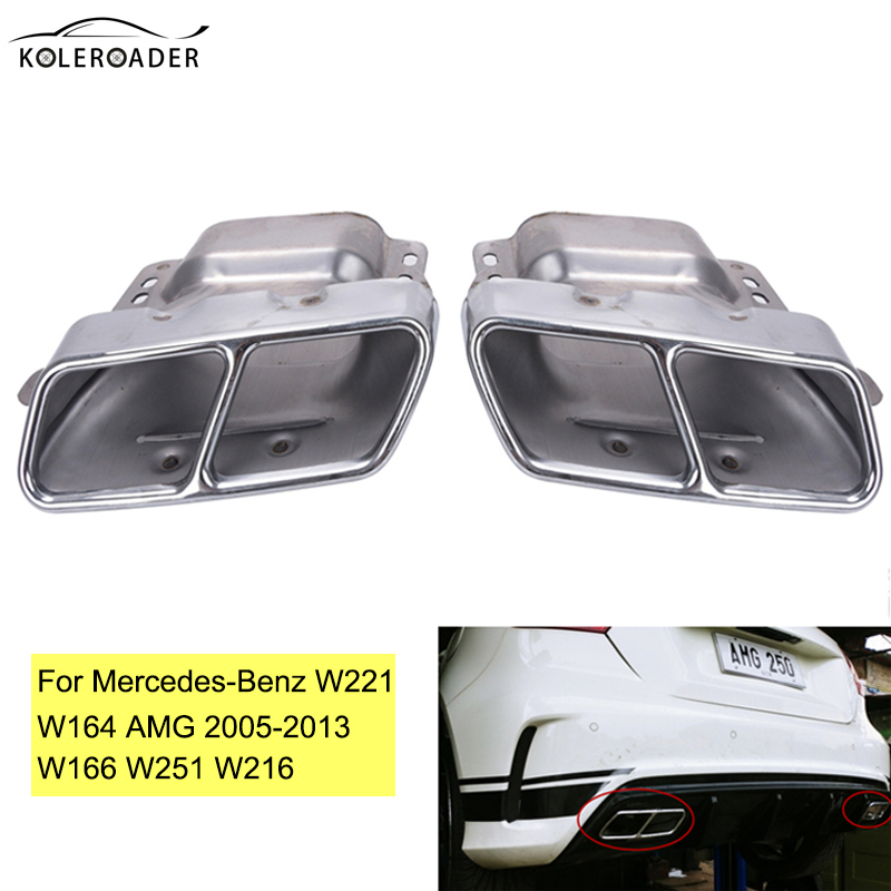 Auto Stainless Steel Exhaust End Pipe Muffler Tail Double Hole Tailpipe For Mercedes Benz W221 W164 AMG 05-13 W166 W251 W216 ML 2x white canbus led door courtesy footwell vanity mirror trunk lights for mercedes w204 w212 w207 w221 w216 r230 w251 w164 w463
