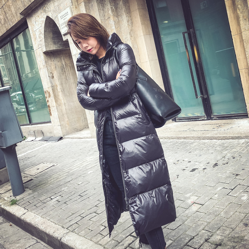 New 2019 Winter Womens Duck down Coat Korean Plus Size Long Down Jacket Hooded Black Thick