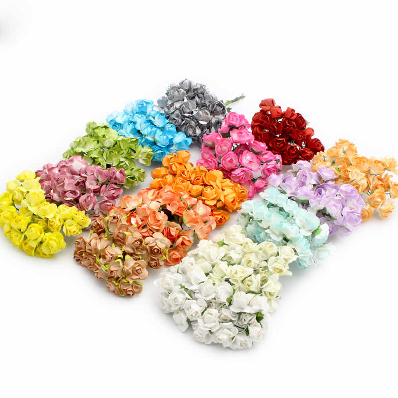 Lucia crafts 36pcs/lot Scrapbooking artificial Mulberry Paper Rose Bouquet wire stem wedding flower A0101