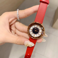 Vivid Red Watches for Women Waterproof Genuine Leather Strap Watch Quartz Roman Number Analog Wrist watch Crystals Montre Femme