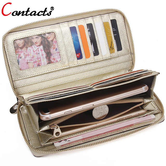 CONTACT'S Ladies Genuine Leather Wallet Women Wallet Female Purse Card Wallet Gold Clutch Credit Card Holder Coin Purse Phone