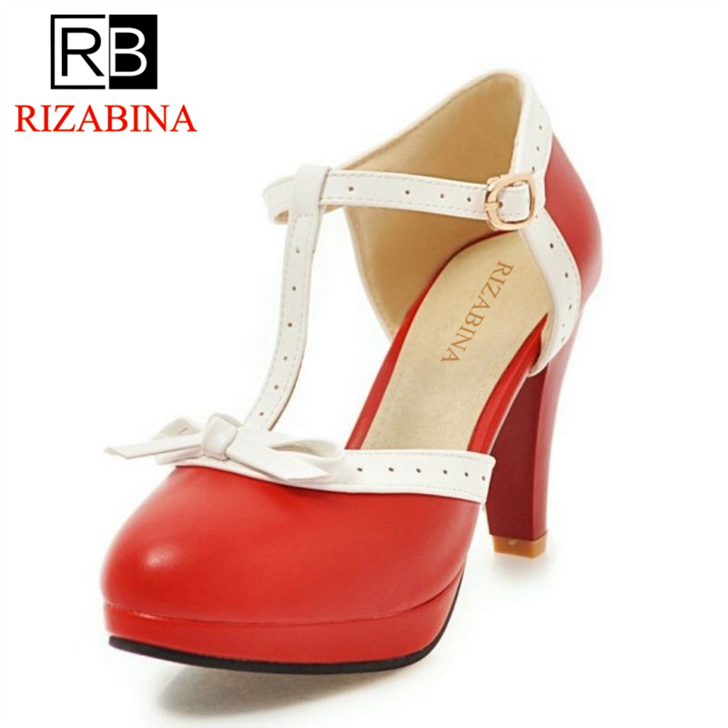 RIZABINA Größe 32-48 High Heel Frauen Sandalen bogen Hochzeitsschuhe der Frauen Quadratische Fersen Sandalen Runde Kappe Plattform Schuhe