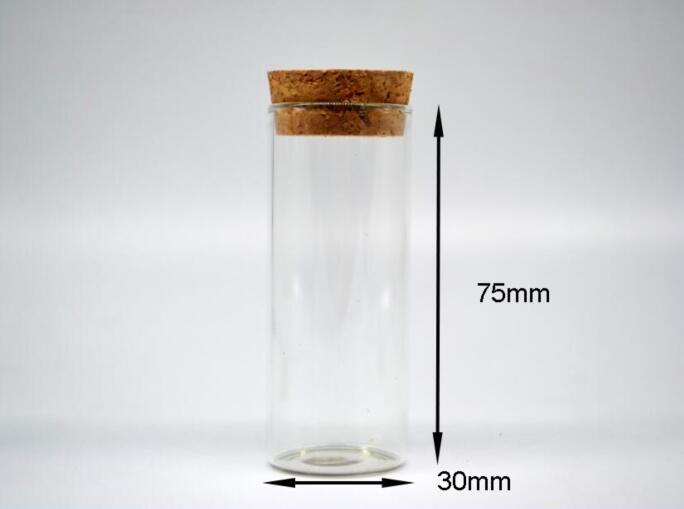 100 pcs 30*75mm tubo de ensaio Garrafa