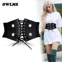 New Black bow Fold Cummerbunds Female Woman Belt zipper cummerbund wide Women's Belts punk rivet Fashion dress waistbands lady