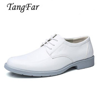 White Wedding Shoes For Men Big Size 39 48 Genuine Leather Mens Navy Shoes Breathable Solid