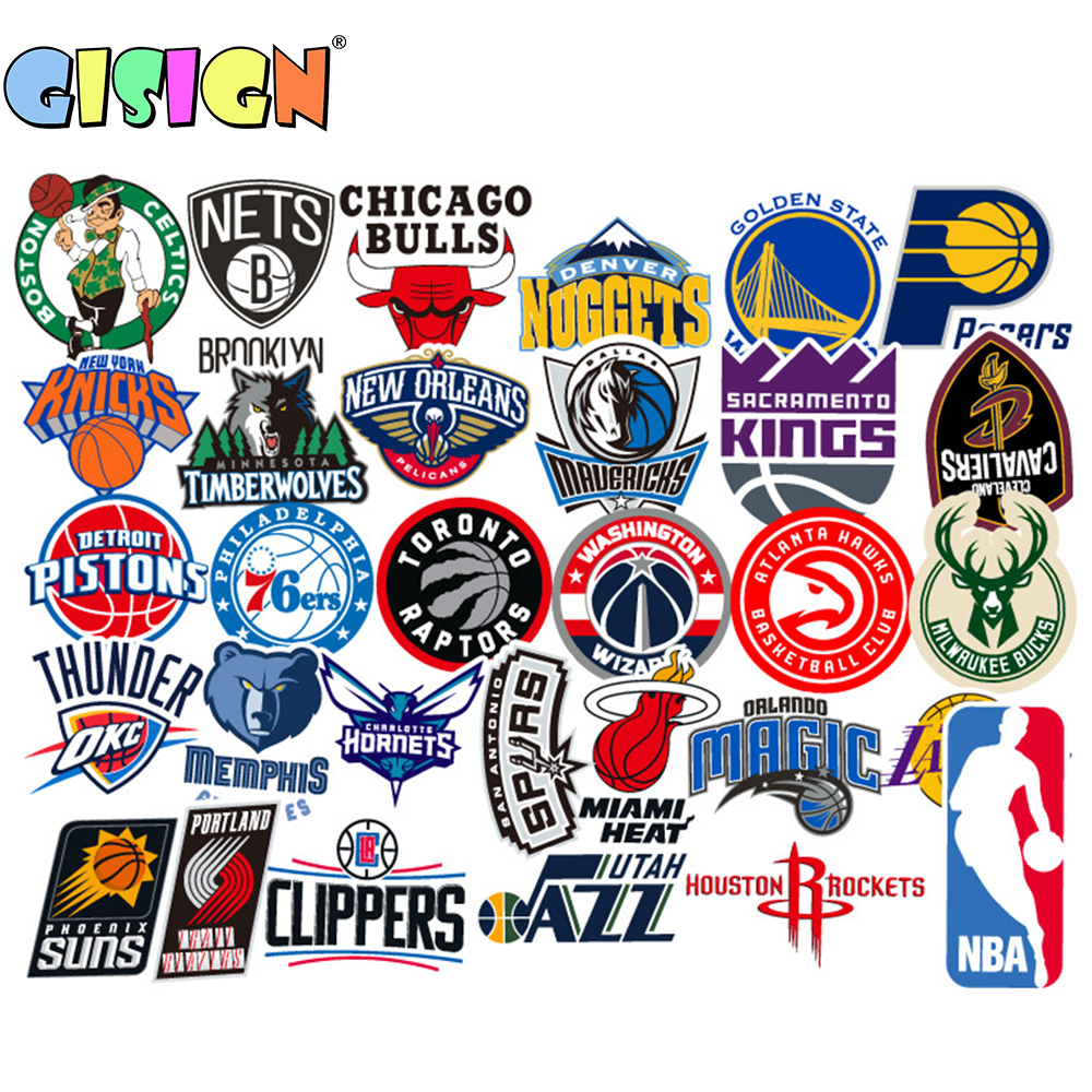 25Pcs NBA TEAM LOGO Stickers On The Laptop For Guitar Motorcycle Car Luggage Skateboard Suitcase Snowboard Kid Stickers Toys image