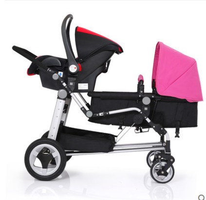 2018 popular Rushed Armrests Cotton Stroller Kds Twins Baby Stroller Front And Rear Folding