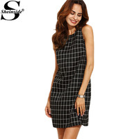 Sheinside Brand Casual Dresses European Style Women Dress Black And White Plaid Cut Out Back Sleeveless