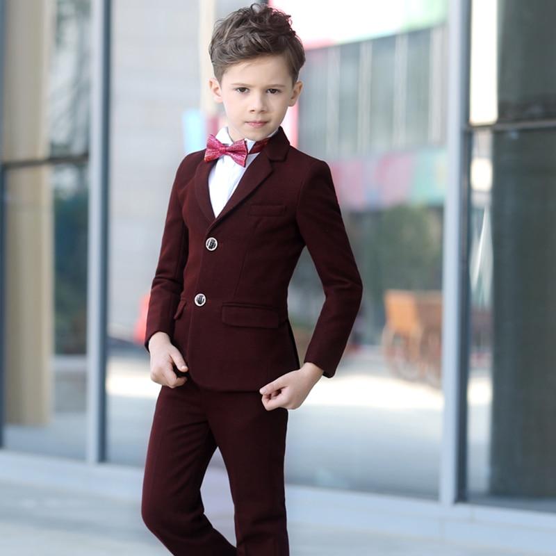 Brand Child Boy Clothing Burgundy Solid boy tuxedo 5pcs toddler kids ...