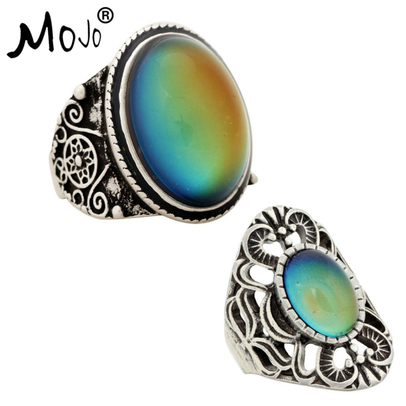 2PCS Antique Silver Plated Color Changing Mood Rings Changing Color Temperature Emotion Feeling Rings Set For Women/Men 004-013