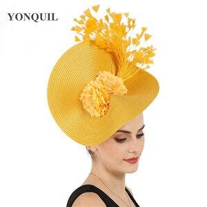 Image 1 - Gelb große derby feder haar fascinator zubehör braut headwear wunderschöne kopfstück mit schöne blume zubehör decor