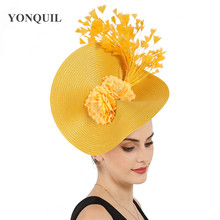 Żółty duży derby pióra do włosów fascinator akcesoria panna młoda nakrycia głowy wspaniały nakrycie głowy with piękne akcesoria kwiatowe wystrój